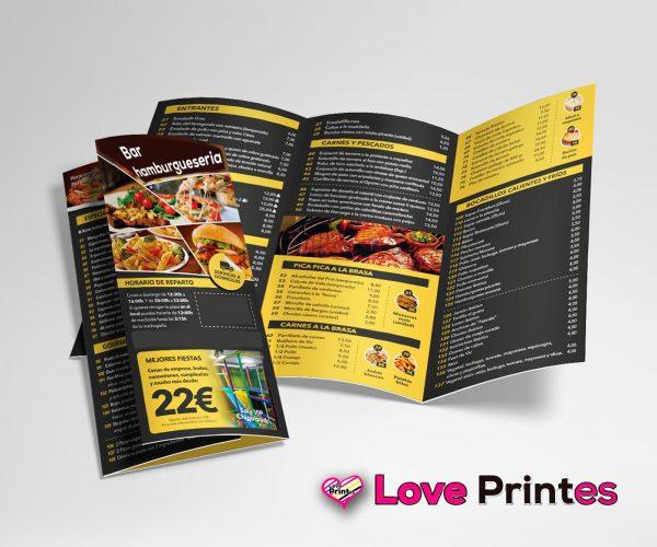 menu carta triptico